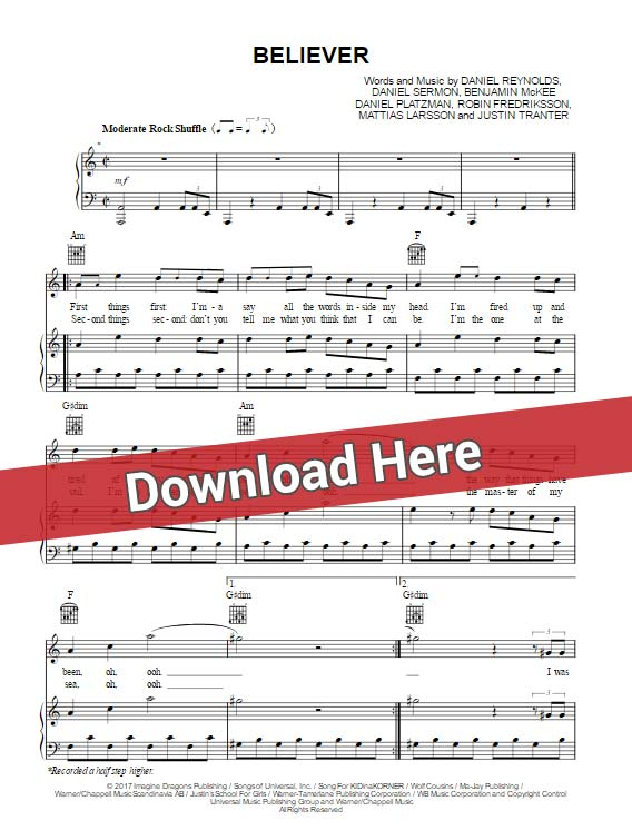 imagine dragons, believer, sheet music, piano notes, chords, download, pdf, klaiver noten, tutorial, how to play, composition